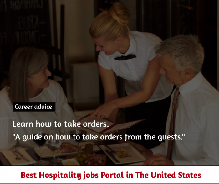 A guide on how to take orders from the guests.
